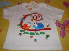 Camiseta bebe o niño, personalizada pintada a mano.