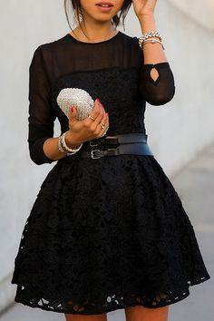 Black Lace Splicing Long Sleeve Dress