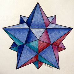 #regolo54 #solid #polyhedra #star #pentagon #geometry #symmetry #pattern #pencil #handmade #mathart #Escher #mandala #structure Illusion Drawings, 3d Drawings, Illusion Art, Sacred Geometry Art, Sacred Art, Geometric Drawing, Geometric Shapes, Op Art, Graph Paper Art