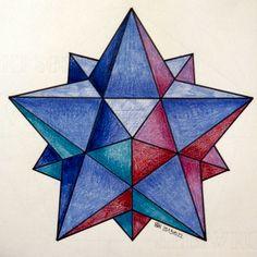#regolo54 #solid #polyhedra #star #pentagon #geometry #symmetry #pattern #pencil #handmade #mathart #Escher #mandala #structure Sacred Geometry Art, Sacred Art, Art Challenge, Op Art, 3d Quilts, Isometric Drawing, Graph Paper Art, Dimensional Shapes, Celtic Patterns