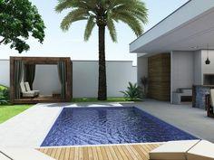 Projetos | CostaFizinus Arquitetos Small Backyard Pools, Backyard Pool Designs, Small Pools, Swimming Pools Backyard, Swimming Pool Designs, Pool Landscaping, Backyard Patio, Modern Architects, Modern Pools