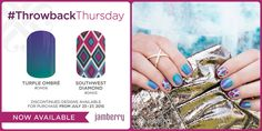 Hey hey hey!!! It's time for another fun #ThrowbackThursday!!! Now thru Monday (7/27), you can order these two Jamberry favorites from the past: Turple Ombre and Southwest Diamond!! :) Grab 'em before they head back into the vault! ;) Order at https://miriahellis.jamberry.com/category/throwback-thursday