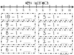 Number line subtraction {10 pages Free!}