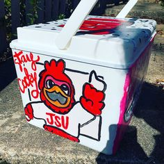 COOLERSbyU Painted Cooler Examples | Stay Cocky | Tags: jsu, mascot, cocky, cooler Painted Coolers, Fraternity Coolers, Cooler Painting, Painting Inspiration, Tags, Mailing Labels