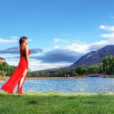 Red Dress in the Wind - The Broadmoor Hotel
