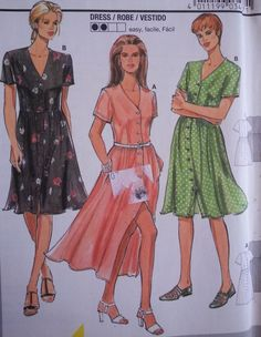 Womens Sewing Pattern Dress with Full Skirt Button Down Short Sleeve V-Neckline Two Lengths Plus Size 10-20 Burda 3487 by Sutlerssundries on Etsy
