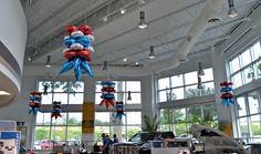 Balloon Cars, Balloon Ideas, Balloon Decorations, Balloons, Showroom, Balloon Ceiling, Balloon Company, Car Dealerships, Pink Trees