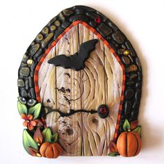 Bat Fairy Door Pixie Portal Halloween Decor on Etsy, $20.00