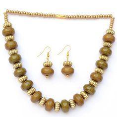 Rustic Olive Green Neckpiece Earring Set For Women...at...http://goo.gl/kMrLvN
