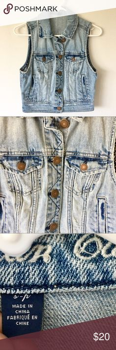 Selling this Distressed Jean Jacket Vest on Poshmark! My username is: coleeescloset. #shopmycloset #poshmark #fashion #shopping #style #forsale #American Eagle Outfitters #Jackets & Blazers