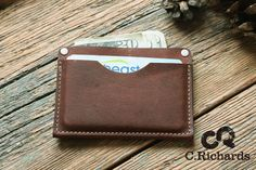 Leather Card wallet  Minimalist wallet Multi-function card wallet Made in USA - #001 (25.00 USD) by CRichardsLeather