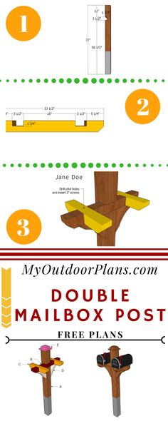 This step by step diy woodworking project is about wooden mailbox post plans. I had a request for a modern double maibox post, so I designed this project. It is really simple to build and it features a sturdy structure. Mailbox On House, Mailbox Garden, Mailbox Landscaping, Wooden Mailbox, Diy Mailbox, Mailbox Post, Mailbox Ideas, Backyard Projects, Outdoor Projects