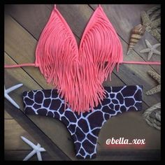 """SEXY STRING FRINGE HALTER BIKINI PINK MED/LARGE SEXY FRINGE BIKINI TOP WITH BLUE WHITE PRINTED BOTTOMS!  RETAIL! SEMI PADDED TOP WITH SEMI THONG BOTTOM AS SHOWN IN PICTURE. SIZE FITS MEDIUM / LARGE. BUST: 36""""-38"""" ADJUSTABLE. WAIST: 29""""-30"""" STRETCH.  FREE HOME!  TRADES &  OUTSIDE TRANSACTIONS - DON'T ASK! BUNDLE AND SAVE 20%!  Follow my closet ✋ NEW ITEMS ADDED DAILY! Posh compliant closet here! Happy POSHING ladies! ☀️ Swim Bikinis"""