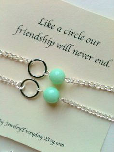 Best Friend, Mother Daughter Necklace or Bracelet Gift Set, Bead and Circle for Forever Love, Friendship, Mint Green, Teal, Turquoise