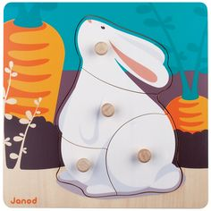 **SALE** A brightly coloured first peg puzzle, one of the four available in the farm animal series.  Made from solid wood, there are 4 wooden pegs to remove and explore. Other items in the Happy animal series include rolly pollys, puzzles, pullalongs and domino sets.  All Janod toys are designed in France and manufactured to strict quality and safety standards, meeting both European and Australian requirements.