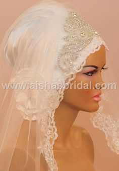 Ready To Wear Bridal Hijab Code HGT342 by HAZIRTURBAN on Etsy
