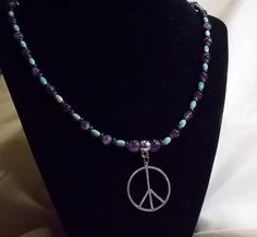 NEW ITEM!! One of a kind. Angelic Healing Necklace, Amethyst, Turquoise, Hematite and a Sterling Silver Peace Charm, 14 inch by AngelTouchedJewelry on Etsy