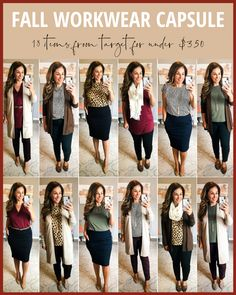 Fall 2019 Business Casual Capule on a Budget. Over 12 looks with 18 pieces for u… - business professional outfits on a budget Office Outfits Women, Business Casual Outfits For Women, Fall Outfits For Work, Casual Work Outfits, Business Outfits, Business Attire, Fall Work Wear, Fall Work Clothes, Fall Teacher Outfits