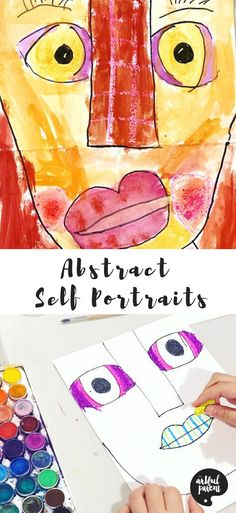 Lauren Signorelli of Artful Playhouse shows us how to draw abstract self portraits for kids in 6 simple steps! Then paint with watercolors to make the portraits pop! via @TheArtfulParent Art Lessons For Kids, Art Activities For Kids, Art For Kids, Kid Art, Me Preschool Theme, Preschool Art, Portraits For Kids, Portrait Ideas, Elementary Art Lesson Plans