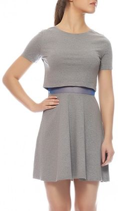 T-Shirt dress in jersey with mesh lining for a comfort fit. Composition: Cotton. Color: Grey Shop now at www.sbuys.in #sbuys #limitededition #fallwinter2013 #fw13 #croptop #lace