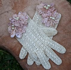 repurposed vintage gloves with lace flowers by BeSomethingNew