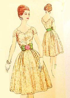 Vintage 1950s Party Dress Pattern Uncut Plus Bust 40 Size 20 Simplicity 3045
