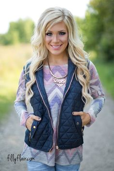 Let's Go Away Together Quilted Vest in Navy - Tops