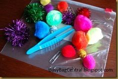 The 3 P's busy bag - Pinchers, pom pom balls and paper clips (use ice cube tray or maybe egg tray for putting them into)