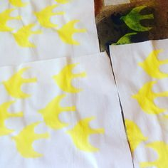 Swallows design. Screen print on to fabric by nooandnel