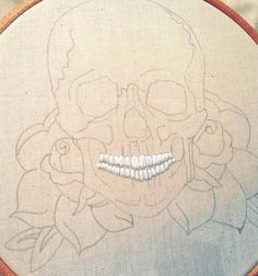 Here. We. Go.  Trying whitework for the first time!  #embroidery #embroideryartist #handembroidery #handmade #sewing #stitching #traditionaltattoo #tattoo #skulltattoo #skull #skeleton #halloween #dayofthedead #sugarskull #whitework #rose #rosetattoo #birdandthebear #etsy #etsyseller #homedecor #wip #workinprogress #progress by birdandthebear