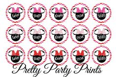 Instant Download Minnie Mouse Kisses and Hugs by PrettyPartyPrints