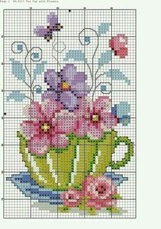 "Punto cruz ""flowers in tea cup cross stitch pattern"", ""Teacup and Butterflies cross stitch"", ""nice cup of."", ""This post w Cross Stitch Cards, Cross Stitching, Cross Stitch Embroidery, Embroidery Patterns, Hand Embroidery, Butterfly Cross Stitch, Cross Stitch Flowers, Cross Stitch Designs, Cross Stitch Patterns"