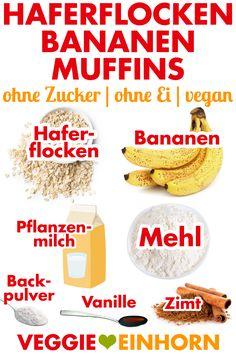 Vegane Bananen-Muffins mit Haferflocken Nutrition nutrition of banana Vegan Breakfast Muffins, Banana Oatmeal Muffins, Vegan Oatmeal, Healthy Vegan Breakfast, Healthy Muffins, Vegan Snacks, Healthy Snacks, Oatmeal Biscuits, Simple Snacks