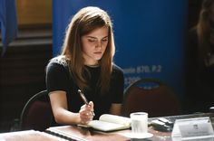 HeforShe - Emma Watson takes notes during an event at Parliament in Montevideo, Uruguay. (9/17/14) (AP Photo/Matilde Campodonico)