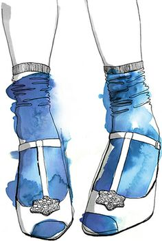 Fancy Feet, by Caroline Rogers *Styling boost with cool socks! Fashion Art, Fashion Models, Art Blue, Blue Socks, Shoe Art, Fashion Sketches, Fashion Illustrations, Illustration Fashion, Watercolor And Ink