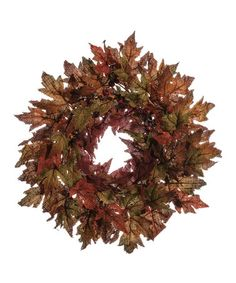 Look what I found on #zulily! Burlap Maple Leaf & Berry Wreath #zulilyfinds