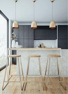 Le marbre dans le top 5 des tendances déco à adopter en 2016 sur @decocrush - www.decocrush.fr ici dans la cuisine. On aime ces touches de cuivre / Copper touches in this marble kitchen