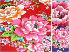 k322  Traditional Taiwanese Floral   in by billycottonshop0413, $12.00