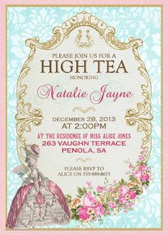 Bridal Shower Tea Party Invitation Template - Vintage Rose Shower ...