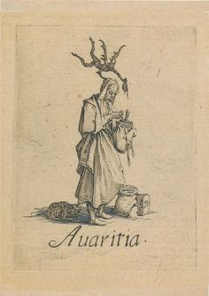 """Virtudes, Vícios E Pecados... """"Avareza"""", Jacques Callot"""