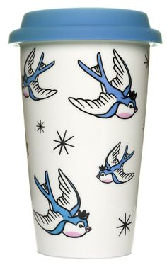SOURPUSS BLUE BIRDS TUMBLER If you hear the birds chirping that means it's time for your mornin' cuppa! This white porcelain to go mug has an all over tattoo inspire bluebird & star pattern. Tumbler comes with a removable rubber lid. $14.00 #sourpuss #tumbler #bluebird