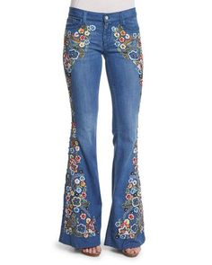 Ryley Embroidered Flare Jeans, Light Blue by Alice Olivia at Neiman Marcus. Embellished Jeans, Embroidered Jeans, Cut Jeans, Denim Pants, Jeans Size, Hippie Jeans, Floral Jeans, Retro Stil, Refashioned Clothes