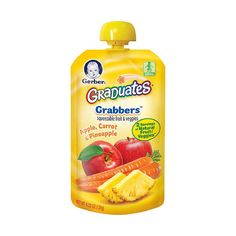 Gerber Graduates Grabbers- Apple Carrot Pineapple Gerber Foods ($1.59) ❤ liked on Polyvore featuring baby, baby food, baby stuff and food