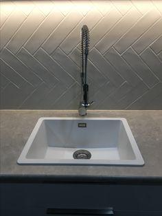 Abey schock Quattro sink white herringbone tile splash back
