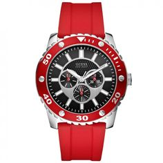 GUESS Multifunction Red Rubber Strap W10616G4