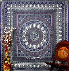 Hippie Mandala Indian Tapestry, Cotton Mandala Bed cover In Tradional Jaipur color, Bohemian Hand Block Printed Bed Sheet / Bed Spread.    This