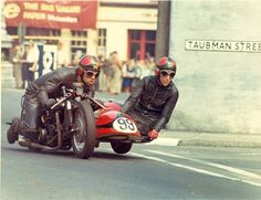 Fantastic shot of Bob and Jenny Beales racing their Triumph in the Isle of Man TT, late 60s/early 70s
