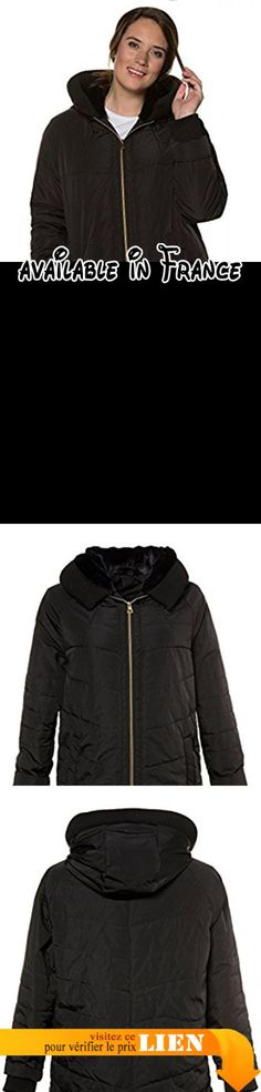 B075YH4JS9 : Ulla Popken Femme Grandes tailles   Manteau longue matelassée   noir 44/46 713270 10-42. Le manteau long matelassé est un indémodable. Sa coupe longue s'accorde avec quasiment tout. Sa matière 100% polyester est très légère. Son col est droit et à fourrure synthétique. Sa fermeture se fait à zip