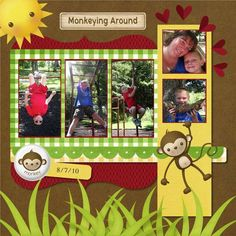 """Cute """"Monkeying Around"""" Scrapbooking Layout...Totallycre8tive - Scrapbook.com."""