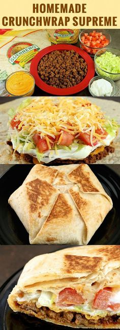 Homemade Crunchwrap Supreme Recipe easy to substitute ingredients to make this r. - Homemade Crunchwrap Supreme Recipe easy to substitute ingredients to make this recipe gluten and or - Crunchwrap Recipe, Homemade Crunchwrap Supreme, Taco Bell Crunchwrap Supreme, Think Food, Love Food, Comida Tex Mex, Comida Latina, Cooking Recipes, Healthy Recipes